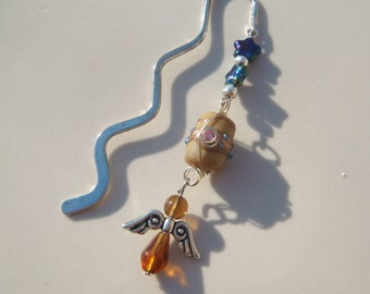 Handmade Brown Wire Wrapped Glass Bead Angel Book Mark Bookmark