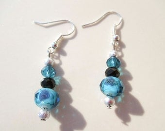 Blue Black and Silver Glass beaded Bead earrings