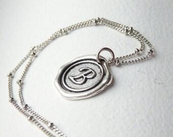 Antique Silver Wax Seal - B - Monogram Necklace