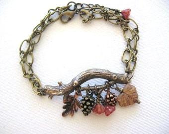 Branch Bracelet, Pine Cone Bracelet, Leaf Bracelet, Enchanted Forest Bracelet, Twig Bracelet, Pinecones, Acorn Jewelry, Handmade Jewelry