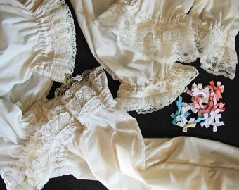 Cream Double-Tier Lacy Ruffled Bloomers Girls Sizes