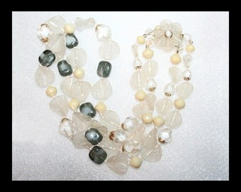 Frost and Smoke Vintage Art Glass and Lucite Necklace