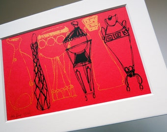 """FANCY BOTTLES   vintage-inspired mini screenprint with mat, Fifties style retro decor in red black and gold by Kathryn DiLego (4x6"""")"""