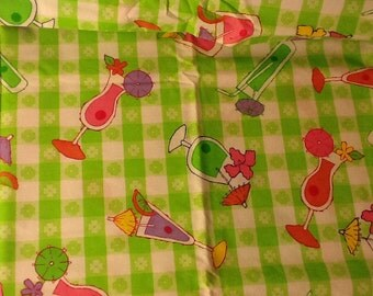Green Checkered Fabric 1 & 1/2 Yards Summertime Mixed Drinks