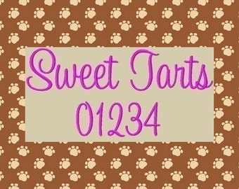 Sweet Tarts Embroidery Font in 3 Sizes