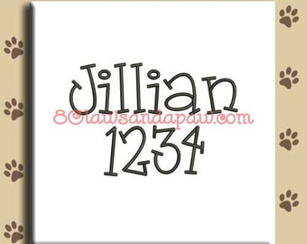 Jillian Embroidery Font Includes 5 Sizes