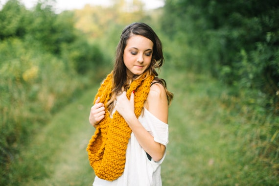 Wool Blend Infinity Scarf in Butterscotch