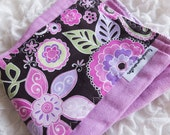 Baby burp cloth - orchid pink and black floral hand dyed burp cloth