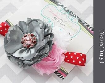 Valentine's Day baby headband {Yours Truly} red, gray, pink Satin Mesh flower, newborn heart elastic headband photography prop