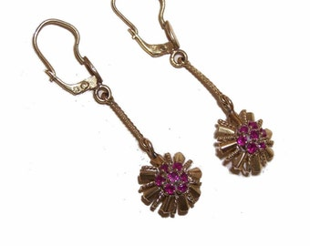 ART DECO 18K Gold & Ruby Drop Earrings