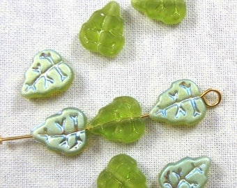 Matte Olivine Green AB Glass Leaf Beads, , 25