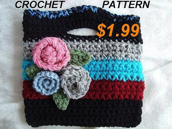 Crochet Bag Pattern For Beginners : Bag, pouch, purse / Crochet Pattern PDF, Easy, Great for Beginners ...
