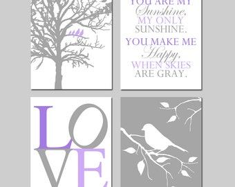 Purple Baby Girl Nursery Art - Birds in a Tree, You Are My Sunshine, Love, Bird on a Branch - Set of Four 11x14 Prints - CHOOSE YOUR COLORS