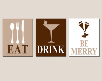 Kitchen Dining Room Decor - Eat, Drink and Be Merry - Set of Three Coordinating 11x14 Prints - CHOOSE YOUR COLORS