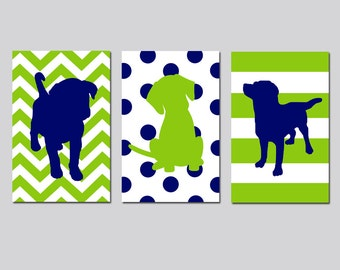 Dog Nursery Wall Art Puppies Nursery Decor Puppy Set of 3 Nursery Prints Baby Boy Nursery Art Dog Nursery Artwork - CHOOSE YOUR COLORS