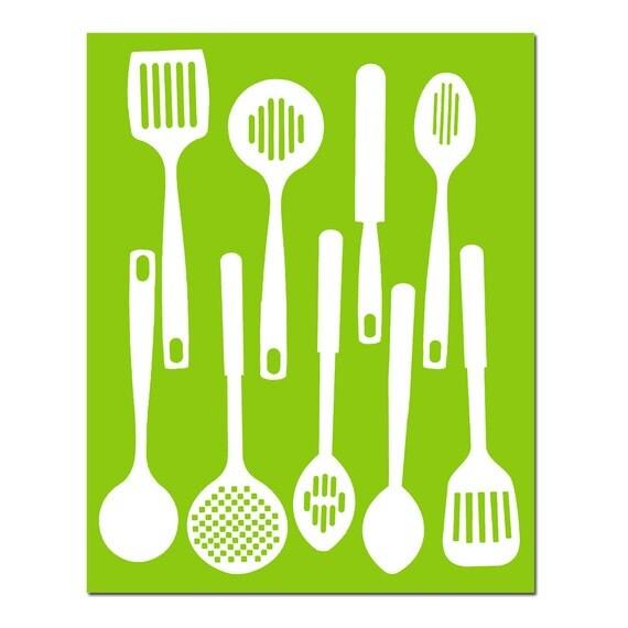 Kitchen Utensils - Spatulas - 8x10 Silhouette Print - Modern Kitchen Art - CHOOSE YOUR COLORS