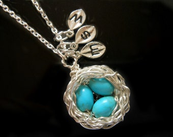 Personalized Initial Bird Nest Necklace with Three Robins Egg Blue Beads in Sterling Silver Monogrammed Stamped Leaf Charms