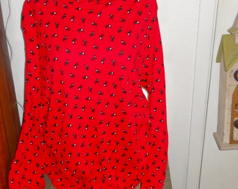 SCOTTY DOGS RED and Black long sleeves Sassy Womens 2 X Blouse