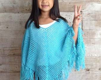 Ponchos for Kids Crochet Pattern PDF
