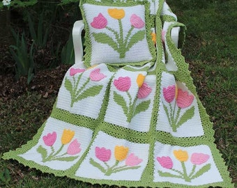 Tulip Afghan & Pillow Set Crochet Pattern PDF