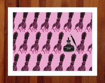Squid Art, Pen and Ink, Black and Pink, Funny Art Print, Prints Illustrations, Bright Art, Giclee Print, Pop Art, Quirky Home Decor, 8.5x11