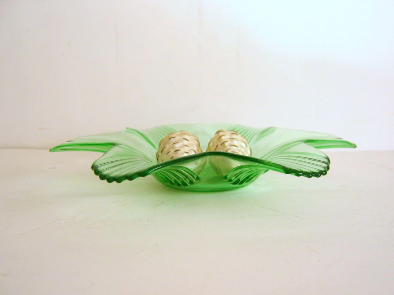 Vintage Glass Art Deco Candle Holder: Vintage Green Glass Candy Dish Art Deco Candle Holder Ribbed