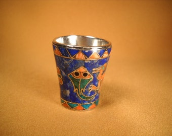 SILVER PERUVIAN CUP, Miniature Peruvian Silver Cup, Inlay Silver Cup with Lapis, Coral and turquoise