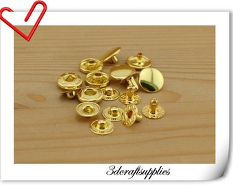 30 sets 15mm golden metal snap fastener for purse and bag ,clothing P128