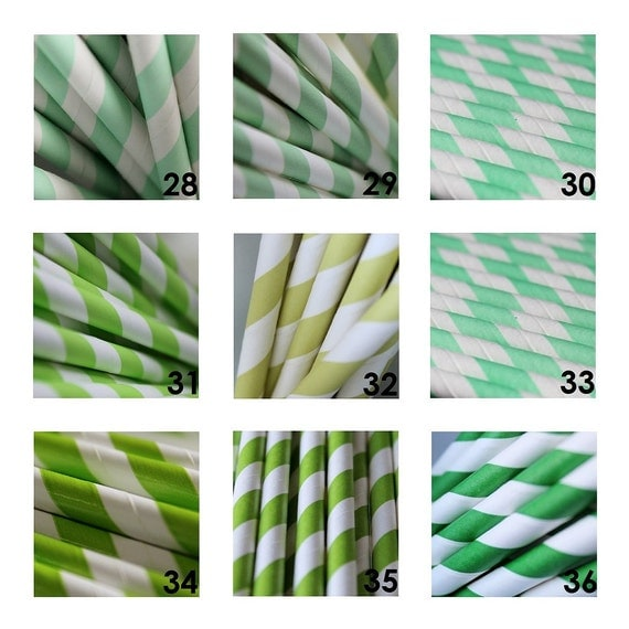 100 Striped Paper Straws for Celebrations Parties Retro Style Great Selection of 45 Colors to Pick From