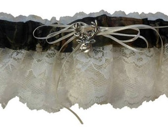 Mossy Oak garter Lace  WHITE or ivory camouflage sheer camo bridal garter Wedding or Prom
