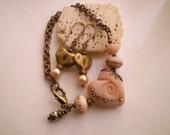 HEART LAMPWORK ~ Bracelet and Earring Set with Vintaj Brass