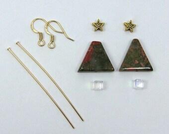 Unakite Gemstone Christmas Tree Earring Kit