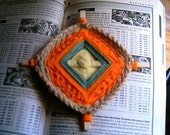 Handmade Ojo Gods Eye Orange and Multi