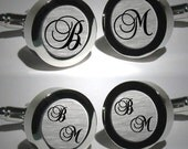 Script Initial Mens cufflinks / Wedding or Anniversary Gift / Monogram Personalized Cufflinks/Christmas / Groomsmen Gift - Font Brock Script
