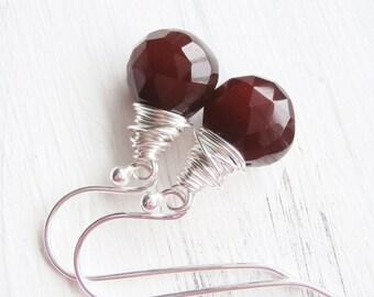 Wire Wrapped Gemstone Earrings - Brown Chalcedony Earrings - Rustic