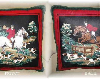 Final Markdown Sale...FOXHUNTING FOX HUNT w/piping trim Horse Pillow...Price Reduced