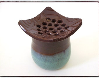 Zen Style Turquoise and Purple Ikebana / Flower Vase with Textured Top