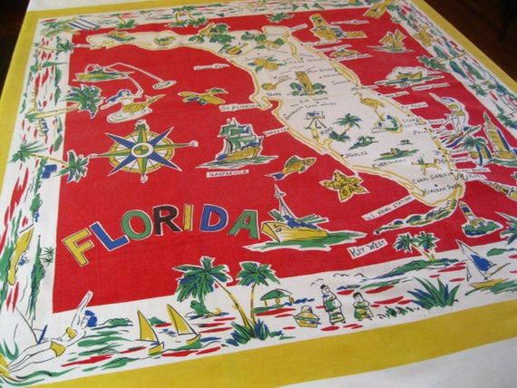 Vintage Florida tablecloth with flamingos, palm trees and bathing beauties  - 1950s