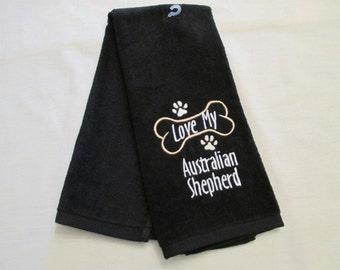 Australian Shephard Hand Towel, Pet Towel, Grooming Towel, Embroidered Dog Towel