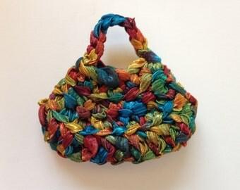 Handmade Barbie Clothes Purse Handbag Crochet Ribbon Variegated (S1828)