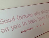 "Large Fortune Letterpress Printed Greeting Card (""Good Fortune--New York City"")"