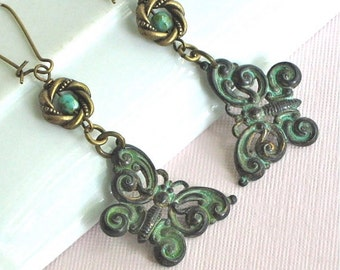 Butterfly Earrings - Verdigris Patina, Jewelry, Long