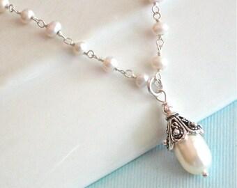 Pearl Drop Necklace - Wedding Jewelry, Bridesmaid Necklace, White Pearl Necklace, Pearl Jewelry