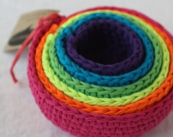 electric neon roygbiv nesting bowls, made from crocheted up-cycled t-shirts by yourmomdesigns / montessori
