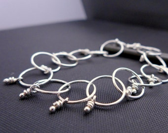 Loops & Knots Sterling Silver Linked Bracelet Handmade Chain Rustic Artisan Knotted Bracelets Organic Links Chain
