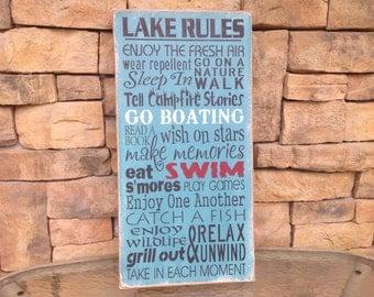Family rules, Lake rules, lake sign,lake house sign
