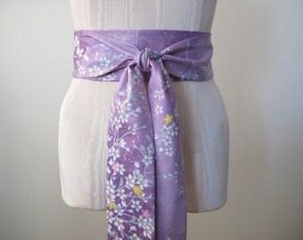 Obi Sash Obi Belt in Radiant Orchid Cherry Blossom Print - ready to ship