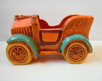 Vintage 1970s Car Automobile Ceramic Pot Planter Home Decor