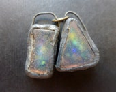 Shimmer beach glass earring pair with solder and flash. Faux Roman glass. 5