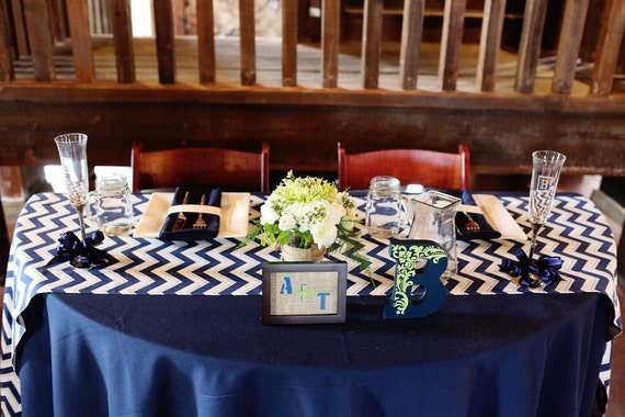 Items Similar To Navy And White Chevron Table Runner On Etsy